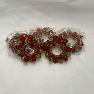 Other - Set of 5 Red & Green Beaded Napkin Rings
